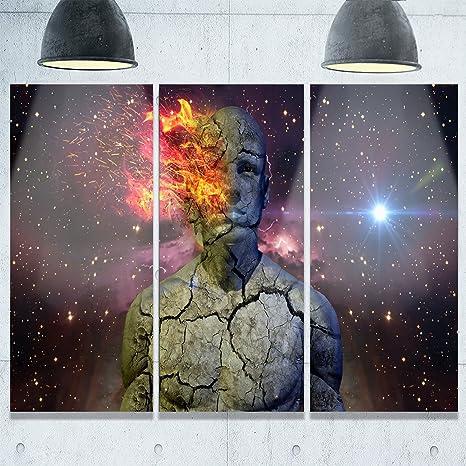 Amazon Com Designart Mt9650 3p Broken Human Body With Fire Abstract Metal Wall Art 3 Panels 28 H X 36 W X 1 D 3p Purple Posters Prints