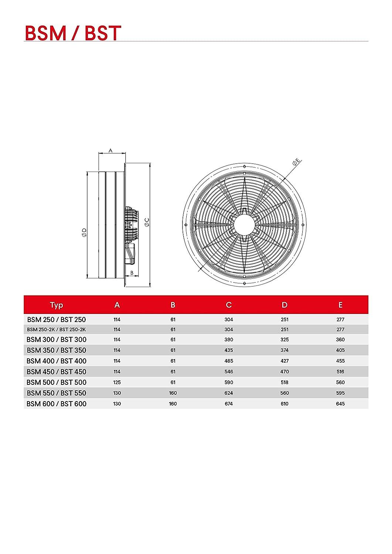 350 ventilaci/ón Ventilador Axial Ventilador ventilador industria Aire De Escape silencioso bsm-serie