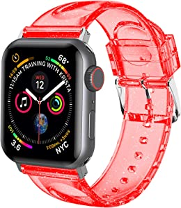 iiteeology Compatible with Apple Watch Band 42mm 44mm, Women Glitter Soft Silicone Sports iWatch Band Strap for Apple Watch Series 6/5/4/3/2/1/SE - 42mm 44mm Red/Silver