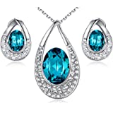 "[Presented by Miss New York] Leafael""Angel's Teardrop"" Made with Swarovski Crystals Blue Zircon Jewelry Set Earrings Necklace, 18"" +2"", Nickel/Lead/Allergy Free, Luxury Gift Box"