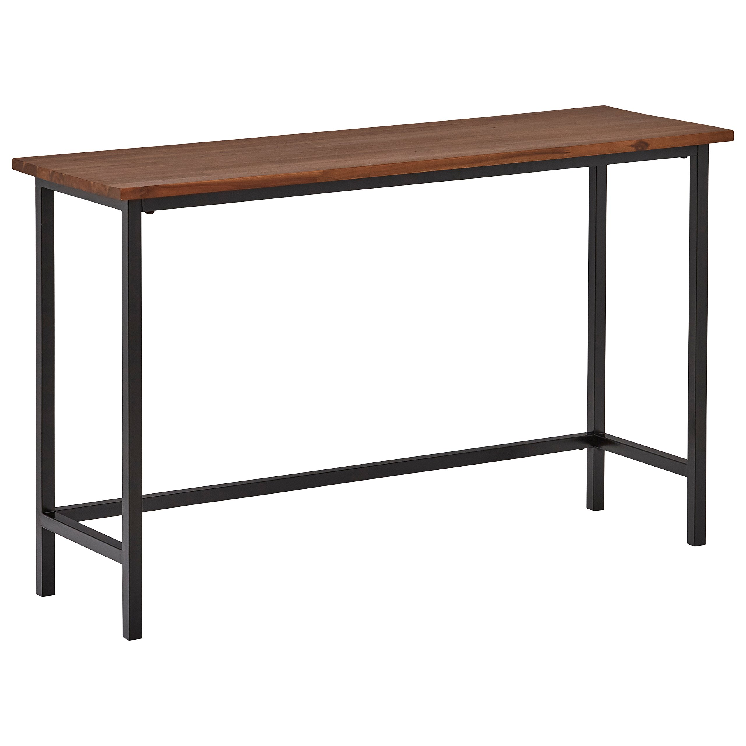 Rivet Industrial Modern Counter-Height Console Bar Table, 47.25''W, Walnut Wood, Metal