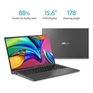ASUS VivoBook 15 Thin and Light Laptop, 15.6 Full HD, AMD Quad Core R5-3500U CPU, 8GB DDR4 RAM, 256GB PCIe SSD, AMD Radeon Vega 8 Graphics, Windows 10 Home, F512DA-EB51, Slate Gray (Color: Slate Grey, Tamaño: 15-15.99 inches)