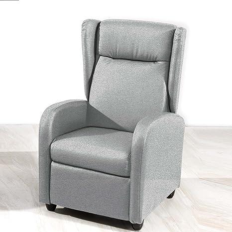 Sillón relax orejero modelo Sena tejido Elegance gris ceniza - SedutaHome