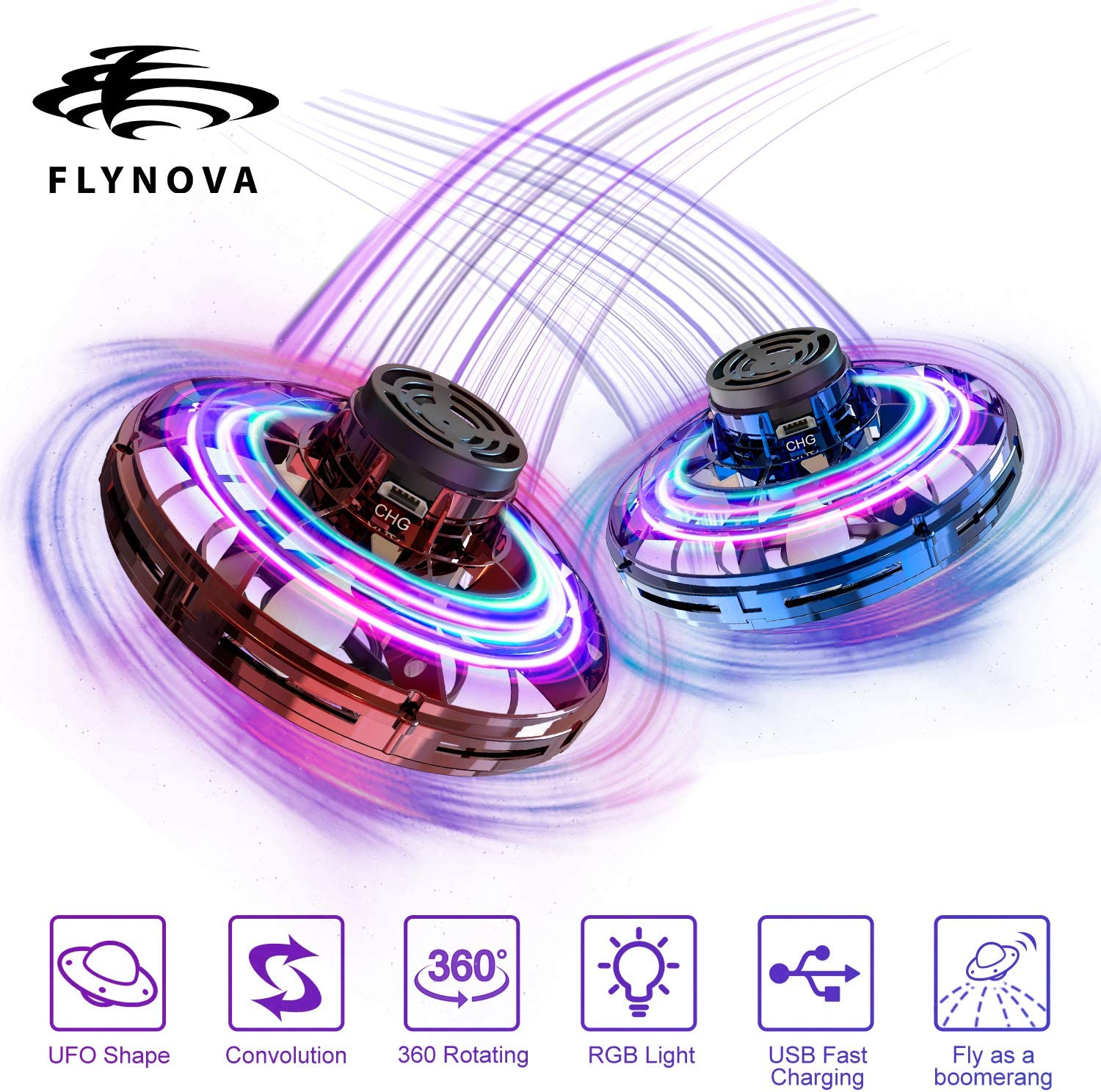 WYNC FlyNova,Hand Operated Drones for Kids or Adults,Stress Reliever Social Toys for Boys and Girls,Suitable for Outdoor,Home,Office,Garden 2PICS(Blue+Red)