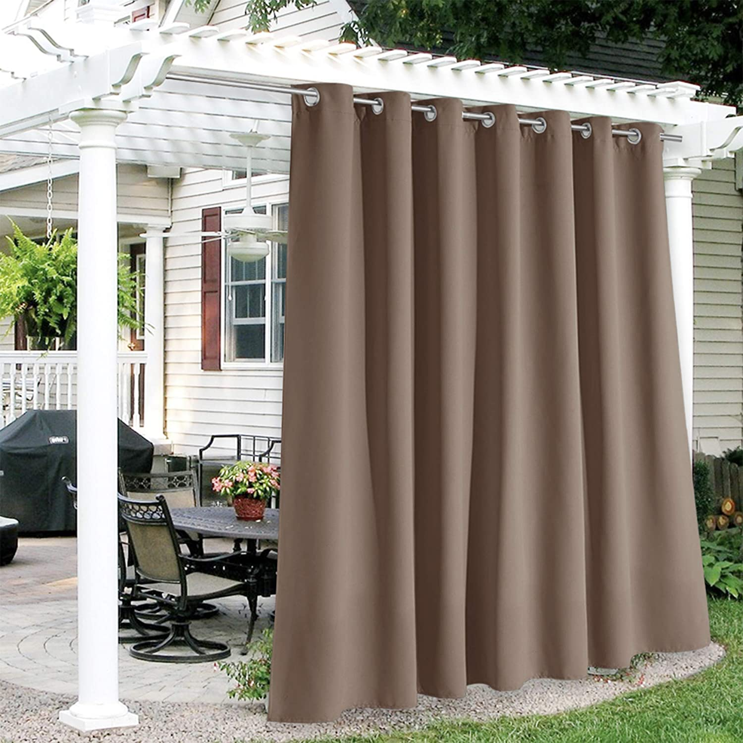 RYB HOME Outdoor Curtains Waterproof - Sun Blocking Curtains Heavy Duty Vertical Blind Grommet Shades for Garage Patio Door Window Porch Pergola, W 100 inches x L 84 inches, 1 Panel, Chocolate