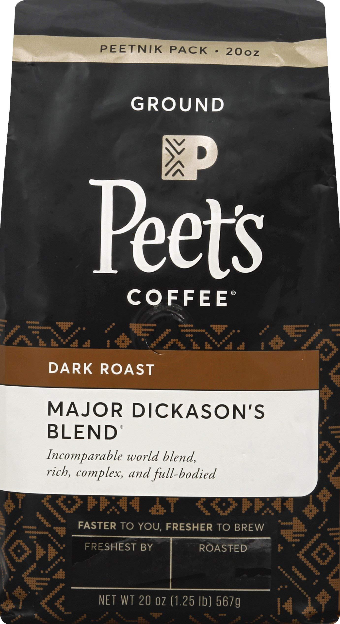 Peet's Coffee Major Dickason's Blend, Dark Roast Ground Coffee, 20 Ounce Peetnik Pack by Peet's Coffee