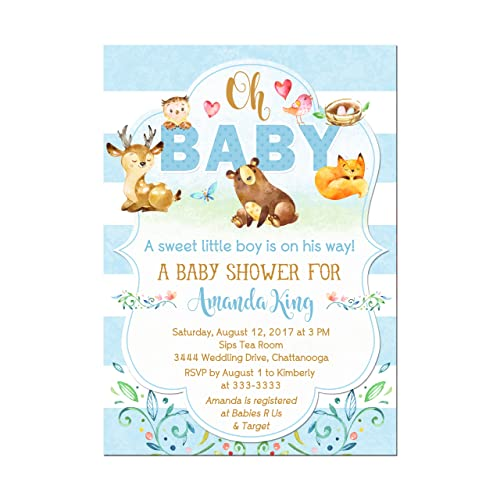 Amazon Com Woodland Animals Deer Baby Shower Invitations Forest