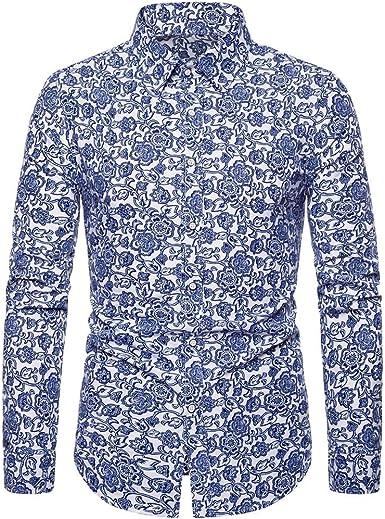 CAOQAO Camisa de Manga Larga de los Hombres Estampado en Porcelana Azul y Blanca: Amazon.es: Ropa y accesorios