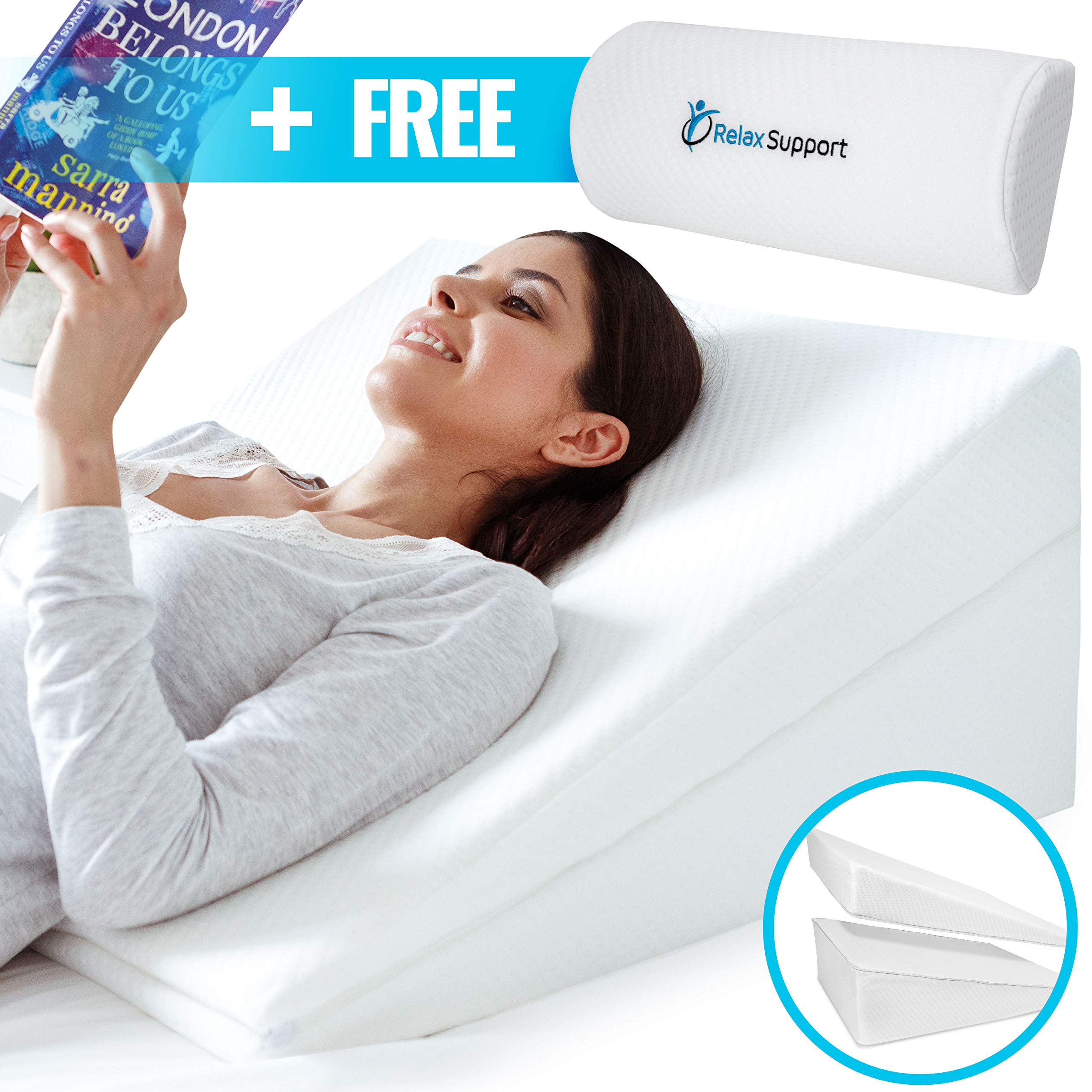 Memory Foam Back Support - Wedge Pillow RS6 Relax Support - Neck and Lumbar Pain Relief Only Wedge Pillow w/Strategic Elevation 3-in-1 Technology to Give You The Angle of Support You Need by RELAX SUPPORT