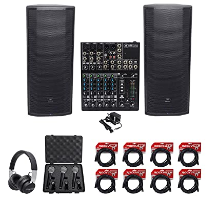 9c25d1ae9ec Amazon.com: (2) JBL Pro PRX825W Dual 15 3000w Powered Speakers+Mackie Mixer+ Headphones+Mics: Musical Instruments