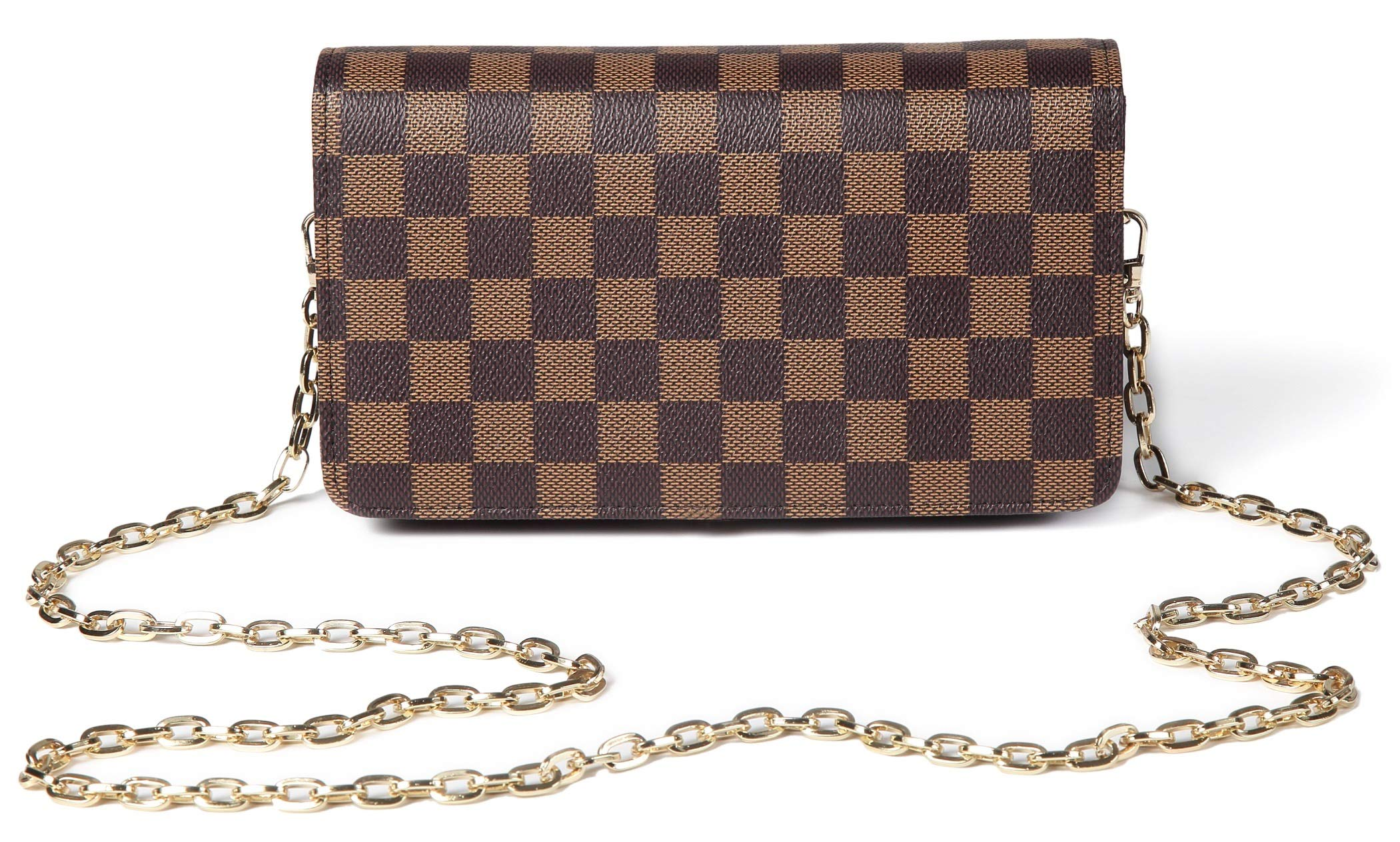 Daisy Rose Checkered Cross body bag - RFID Blocking with Credit Card slots clutch -PU Vegan Leather (BROWN)