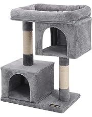 FEANDREA Kratzbaum mit Großer Plattform und 2 Plüschhöhlen Spielhaus, Kletterbaum für Katzen