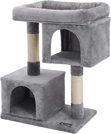 Feandrea Cat Tree For Large Cats Cat Tower 2 Cozy Plush Condos And Sisal Posts Cat House Upct61w Pet Supplies