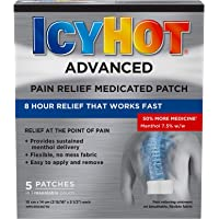 Icy Hot Advanced Medicated Patch, 5 Count, Fast, Long-Lasting Muscle & Joint Pain Relief, Effective Targeted Pain Relief of Simple Backaches, Lumbago, Strains & Sprains, Arthritis