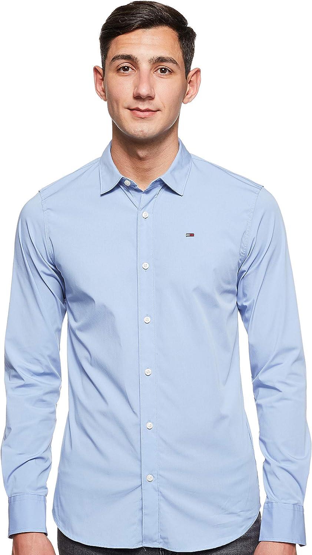 Tommy Jeans Original Stretch Camisa, Azul (Lavender Lustre 556), Medium para Hombre
