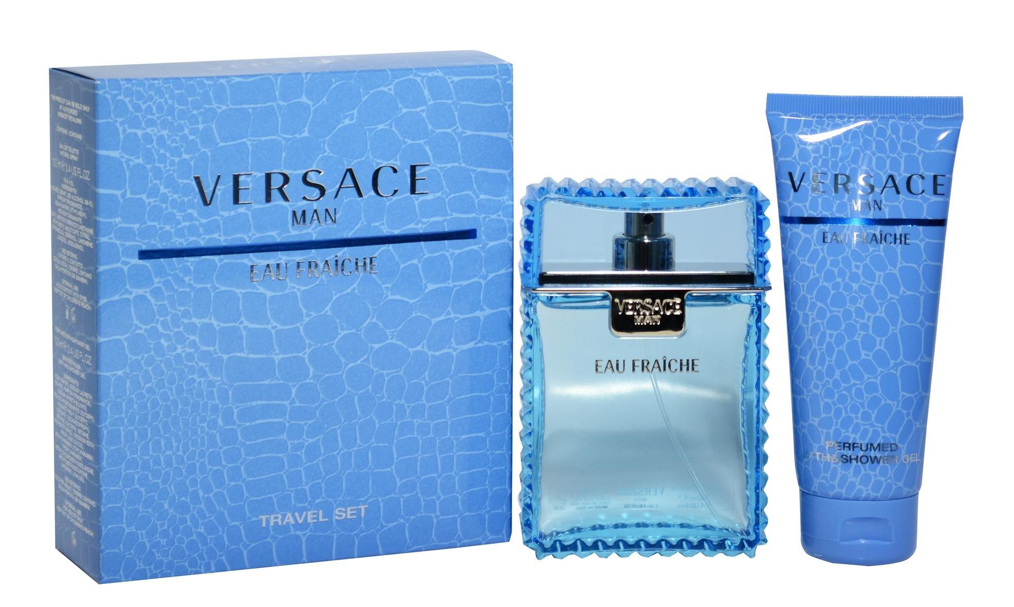Versace Eau Fraiche Men Gift Set (Eau De Toilette Spray, Perfumed Bath and Shower Gel) by Versace