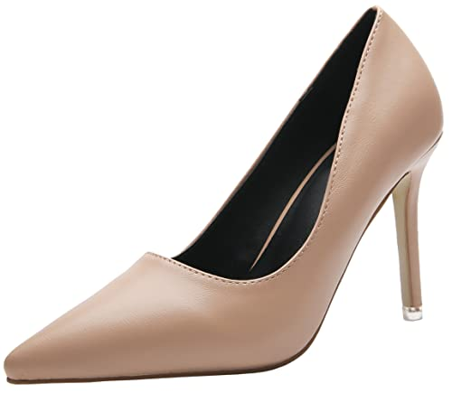 6338432687fe4 Amazon.com   BIGTREE High Heel Pointed Toe Shoes Women Smooth Work ...