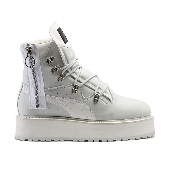 abf40d84d1fa PUMA Fenty By RIHANNA Adult s Sneaker Boots (363475 01) (Puma White Puma  White Puma White) (UK 11   EU 46   US 12   CM 30)  Amazon.co.uk  Sports    Outdoors