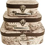 Wald Imports Brown & White Paperboard  Decorative Storage Paperboard Suitcases, Set of 3
