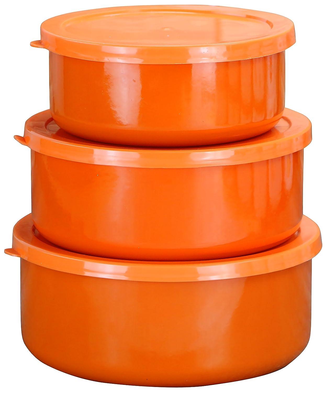 Calypso Basics by Reston Lloyd 6-Piece Enamel on Steel Bowl/Storage Set, Orange