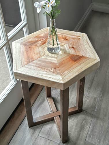 End Table   Hexagon Reclaimed Wood
