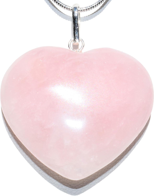 Puffed Heart Pendant Handmade Rose Quartz Gemstone Snake Chain Necklace