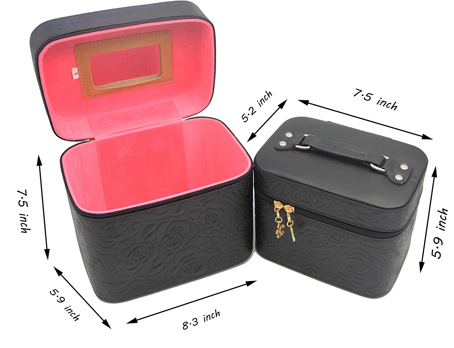 e095ce8ee9d5 HOYOFO 2-Piece Set 3D Totem Pattern Large Makeup Case Travel Make Up Bag  Cosmetic Train Cases (Black 2)
