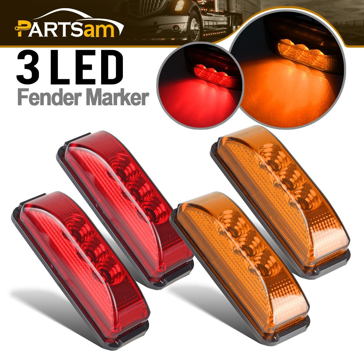 Partsam Pair 3.9' Side Marker & Clearance Light Red Waterproof Black Base Mount 3LED, Sealed Thin Line LED Trailer Marker Clearance or ID Lights w/Miro-Reflectors