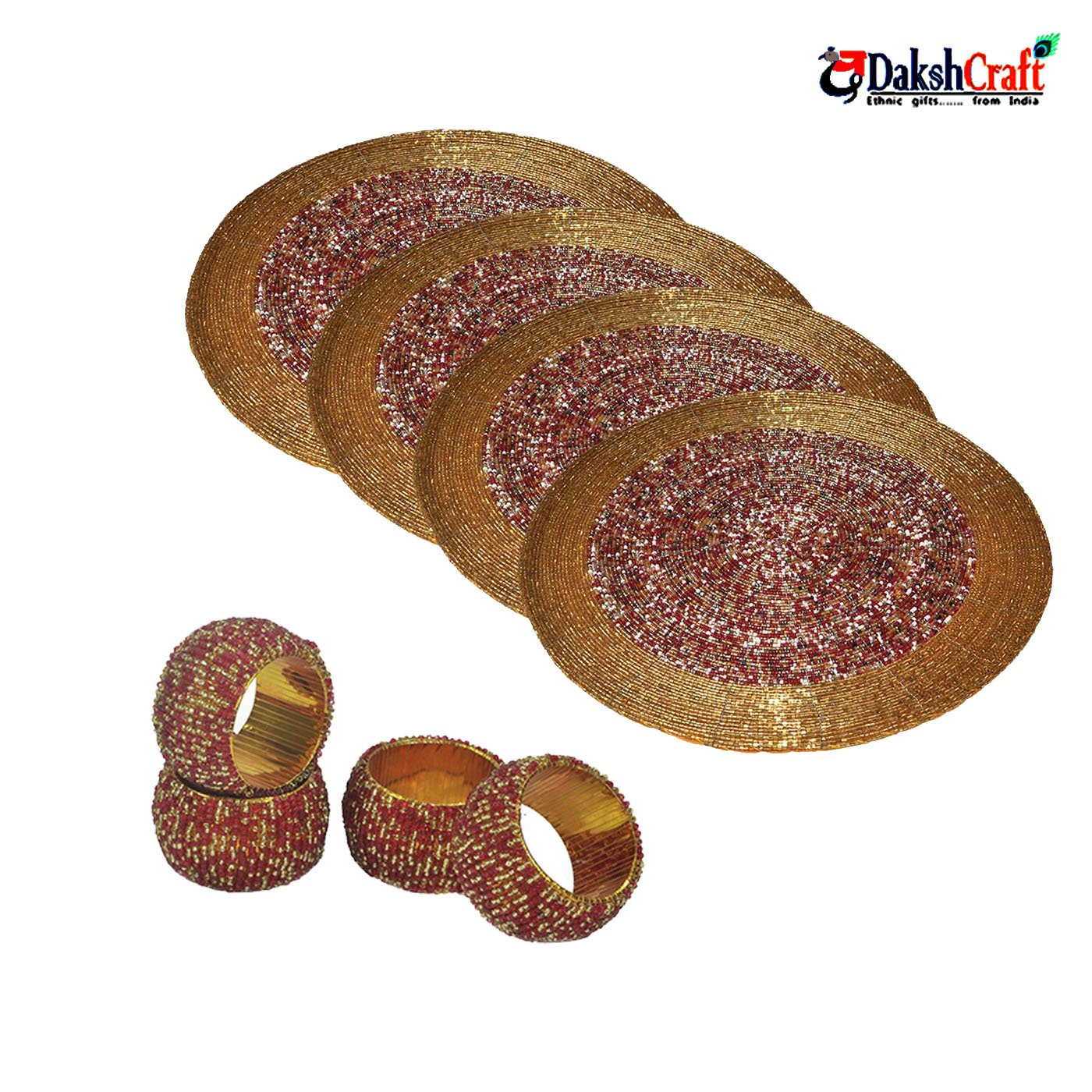 DakshCraft Beaded Placemat & Napkin Rings for dinning Set of 4 Round Shape Bar Dining Party Tabletop Accessories & Room Furniture