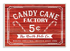 "The Stupell Home Décor Collection Candy Cane Factory Vintage Sign Wall Plaque Art, 10"" x 15"""