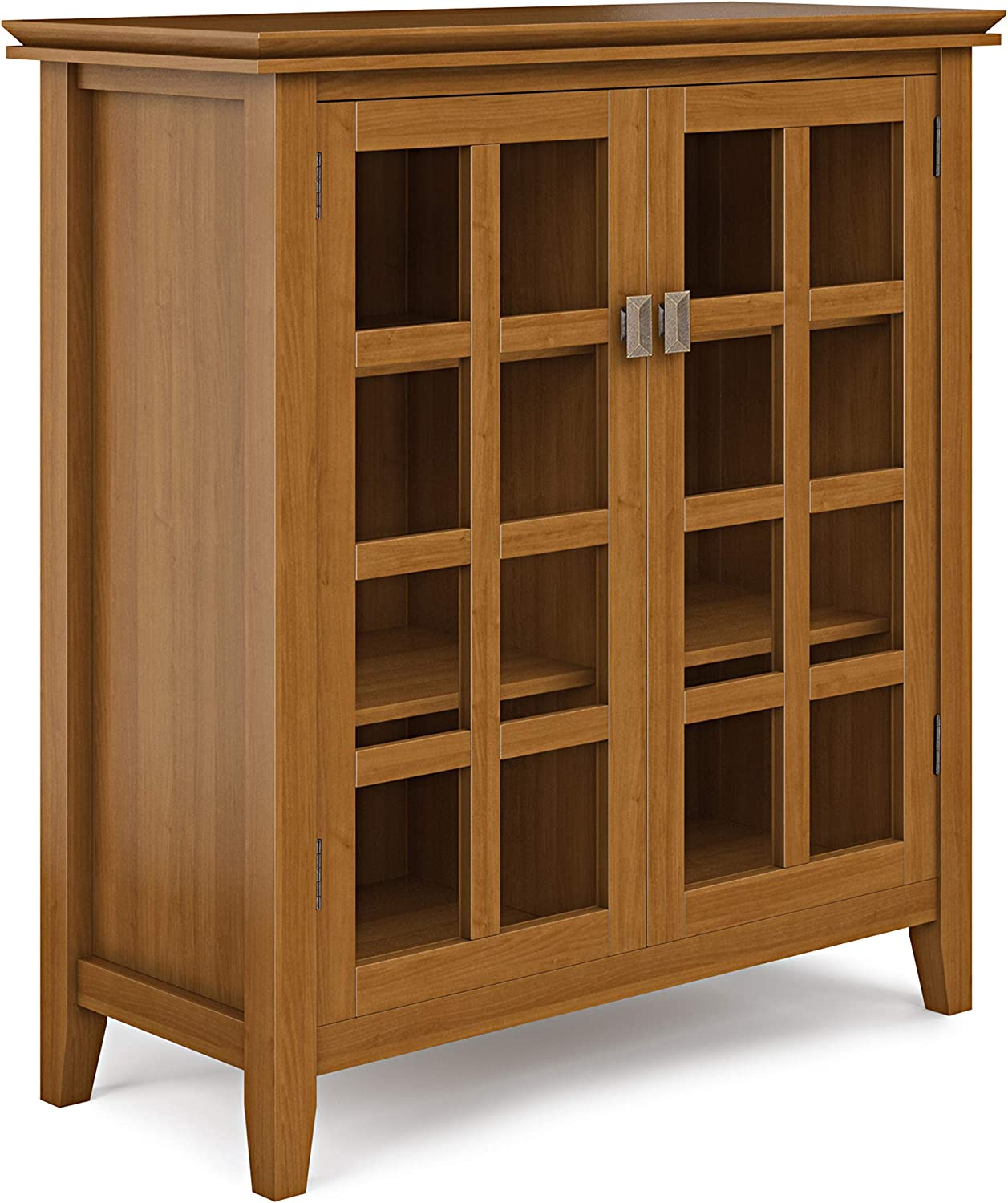 SIMPLIHOME Artisan SOLID WOOD 38 inch Wide Contemporary Medium Storage Cabinet in Honey Brown, with 2 tempered glass doors , 4 adjustable shelves