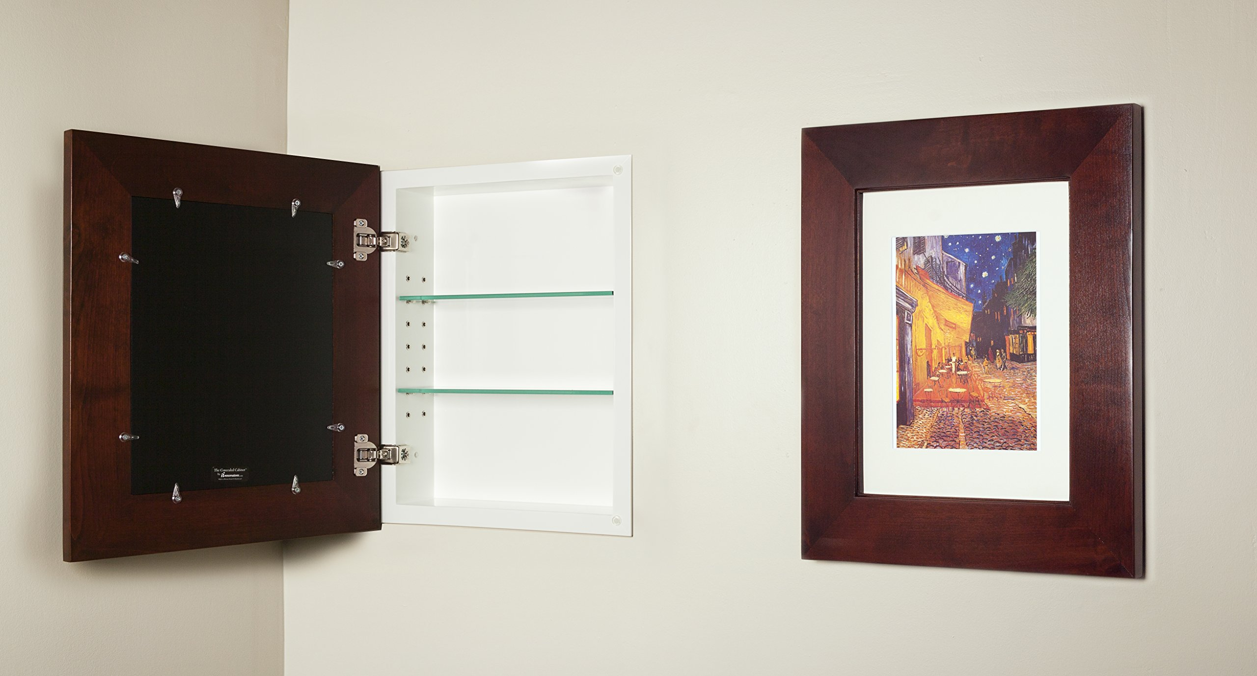 14x18 Espresso Concealed Cabinet (Large), a Recessed Mirrorless Medicine Cabinet with a Picture Frame Door