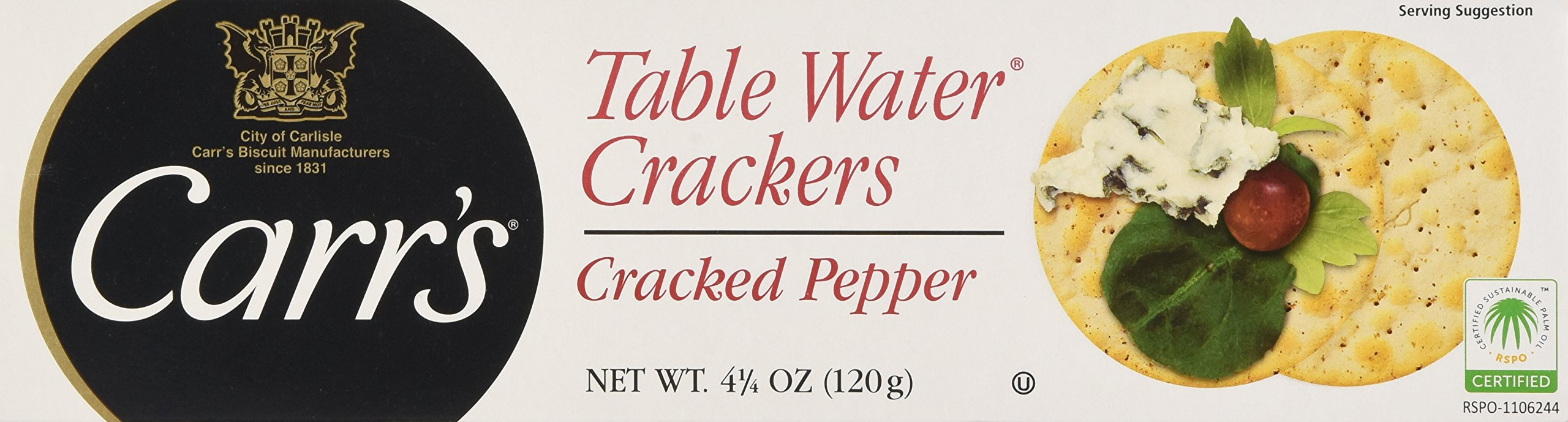Carr's Table Water Crackers, Cracked Pepper, 4.25-Ounce Boxes (Pack of 6)