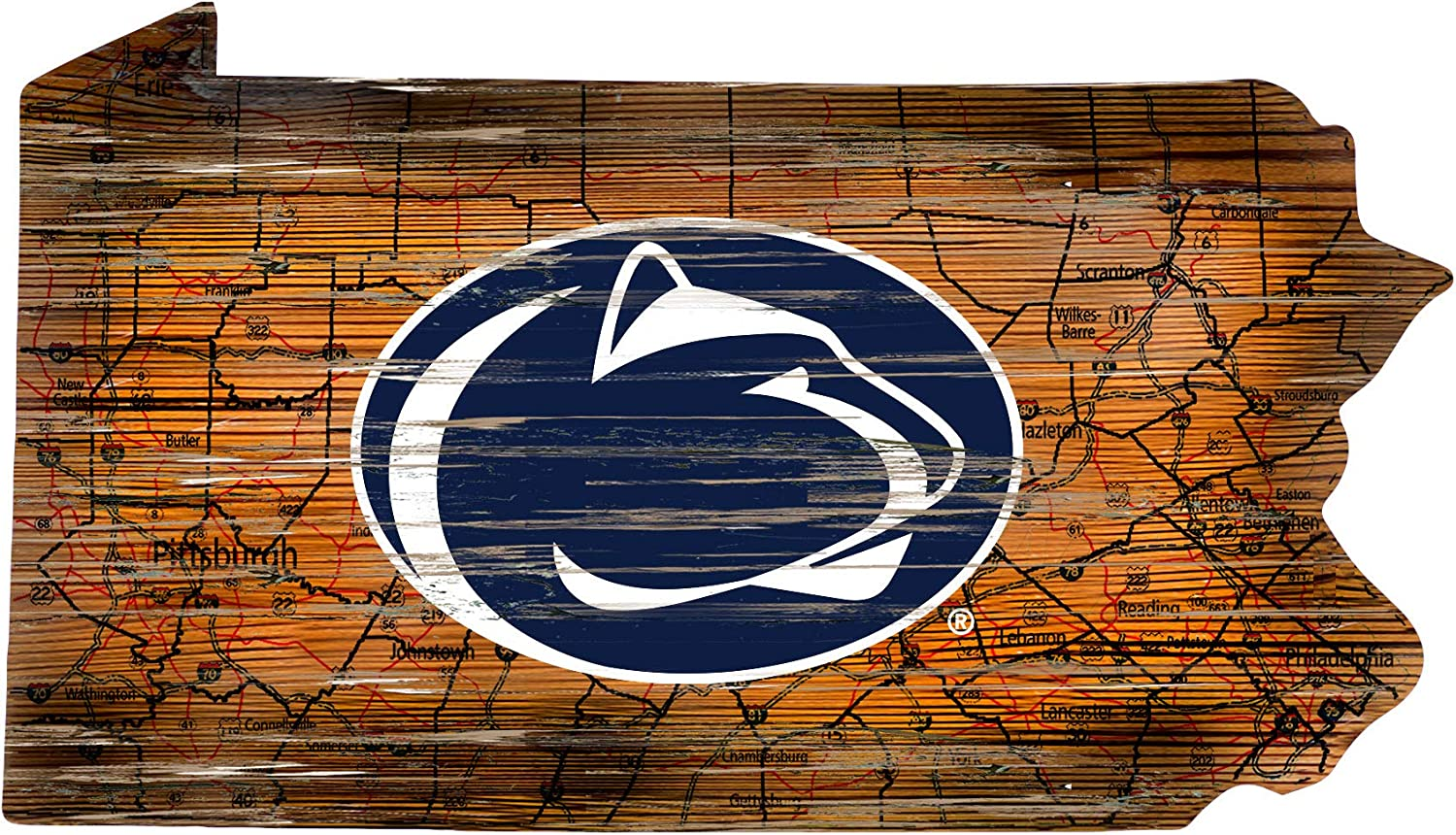 Fan Creations NCAA Penn State Nittany Lions Unisex Penn State University Mini Roadmap State Sign 12 inch Team Color