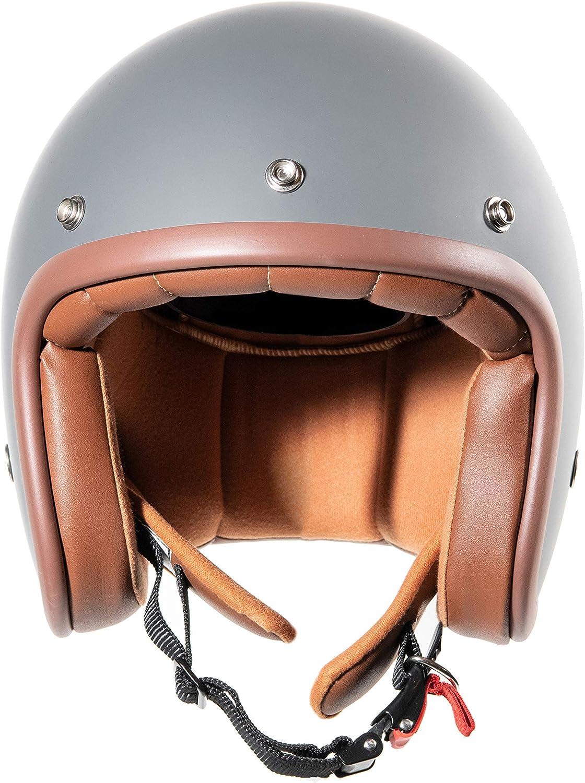 grau matt ORIGINAL Fr/äulein Irmi Retro Vespa-Helm Roller-Helm f/ür Frauen und Herren im edlen Vintage-Look Qualit/ät nach ECE-Norm Jet-Helm mit Sonnen-Visier