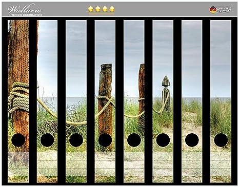 Lomo de archivadores Pegatinas Duna en la playa con madera en poste Premium Calidad – Tamaño