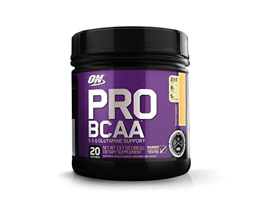 OPTIMUM NUTRITION Pro BCAA Powder with Glutamine, Peach Mango, Keto Friendly Branched Chain Amino Acids, 20 Servings (Packaging May Vary) best BCAA powder