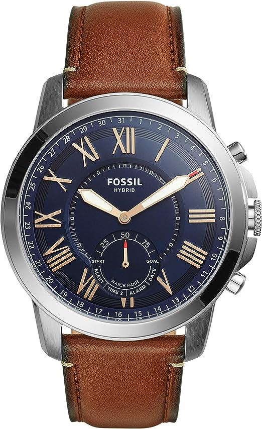 FOSSIL Q Grant Smartwatch hybride homme sport Cadran acier et bracelet en cuir brun Compatibilité iOS et Android Boîte et pile incluses