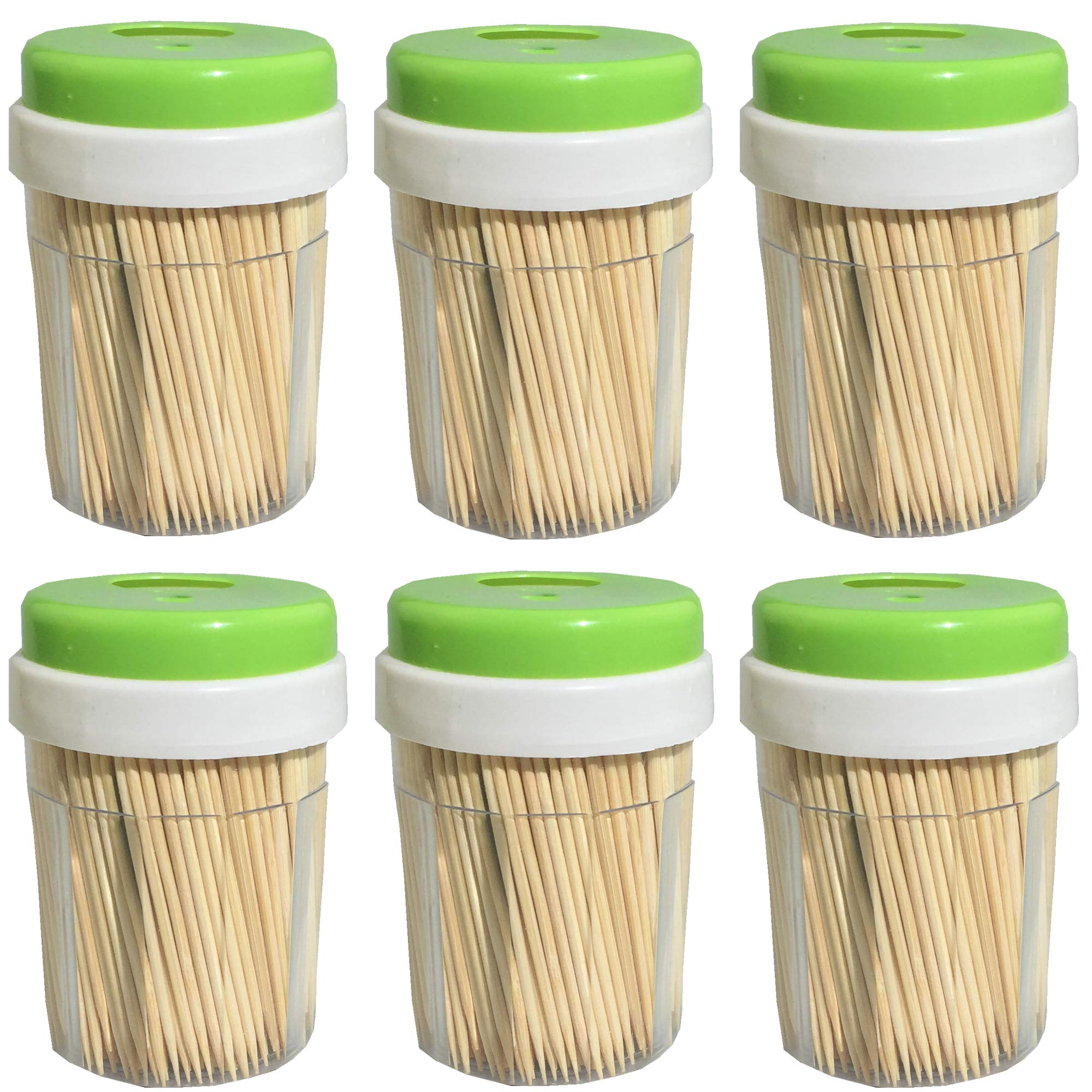 Round Bamboo Wood Toothpicks 3000 Pieces - Splinter-Free Wooden Toothpicks for Teeth with Dispenser by My Trendy Kitchen