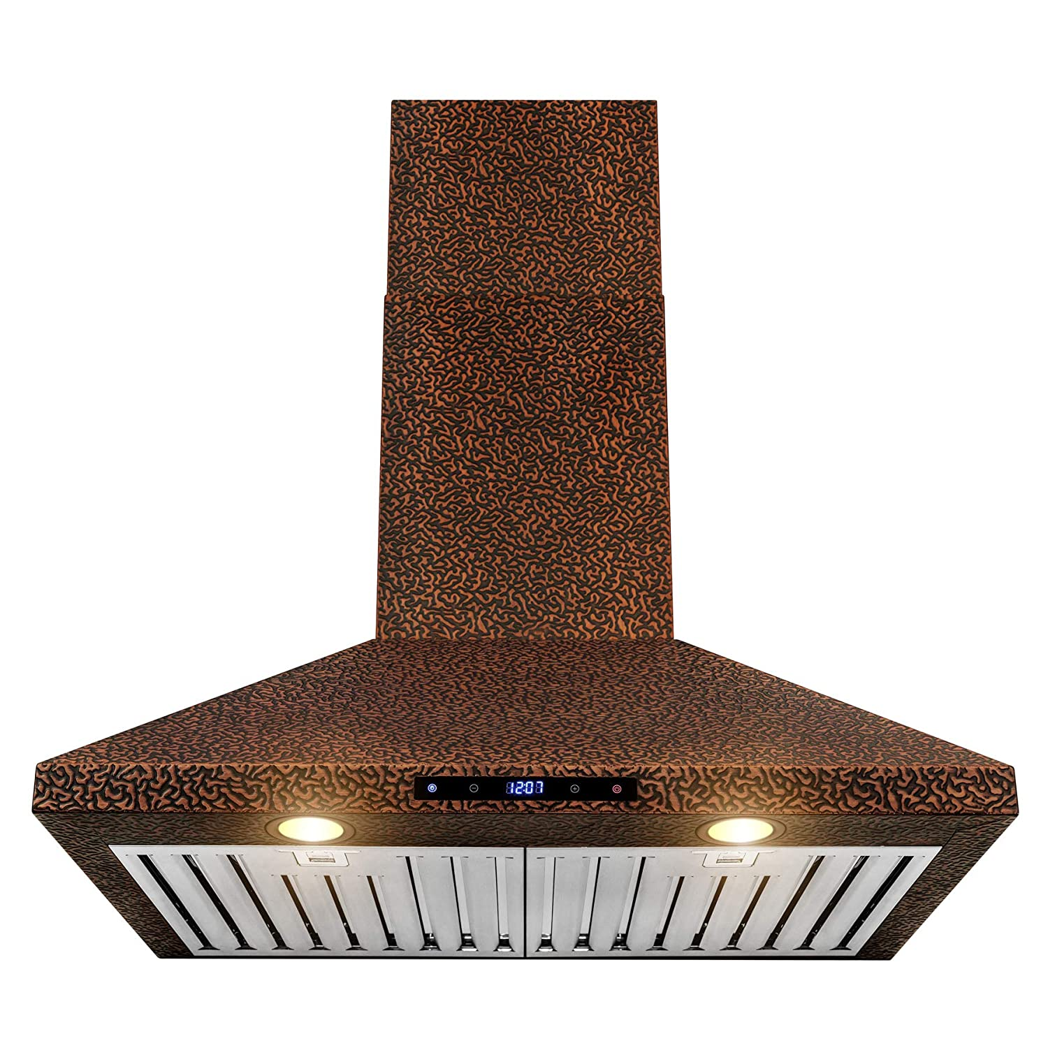 "AKDY Wall Mount Range Hood –30"" Embossed Copper Hood Fan for Kitchen – 4-Speed Professional Quiet Motor – Touch Control Panel – Modern Design – Dishwasher-Safe Baffle Filters"