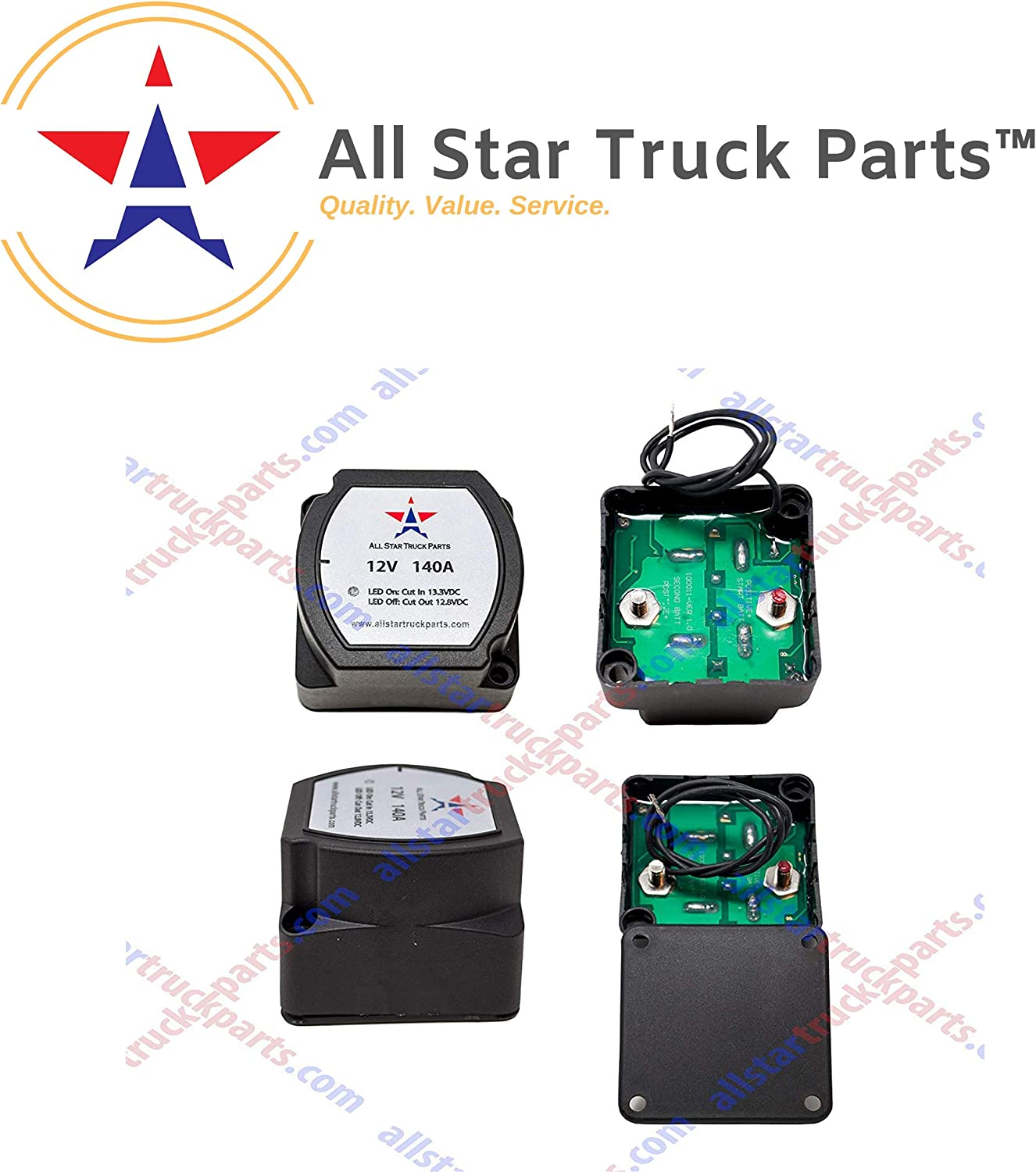 [ALL STAR TRUCK PARTS] 12V 140 Amp Dual Battery Smart Isolator - VSR - Voltage Sensitive Relay Specially Designed for ATV, UTV, Boats, RV's, Campers 5th Wheels Off Road Vehicles Rhino Polar