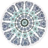 "Round Beach Towel Tassel Tapestry, RoxZoom 60"" Multi-Purpose Towel Beach Throw Blanket, Yoga Mat Picnic Mat, Tablecloth, Shawl Wrap, Mandala Roundies - Blue & White Porcelain"