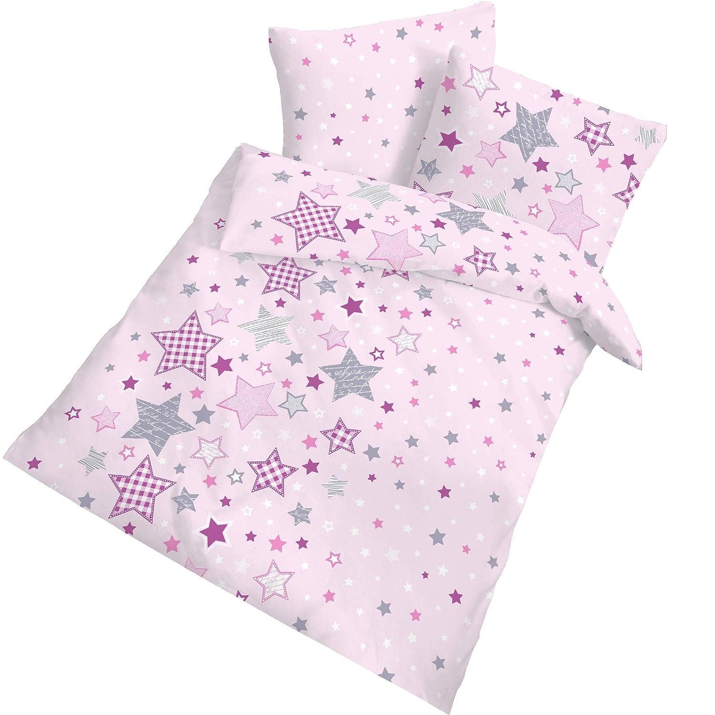 Ropa de cama infantil de franela «Stars» con diseño de estrellas, en rosa, lila y gris - 2 piezas Tamaño de 40 x 60 cm y 100 x 135 cm (100 % algodón). Hecha en Alemania. Ido Dobnig