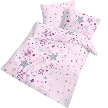 Sterne Mädchen Bettwäsche Kinderbettwäsche 100 Baumwolle Stars