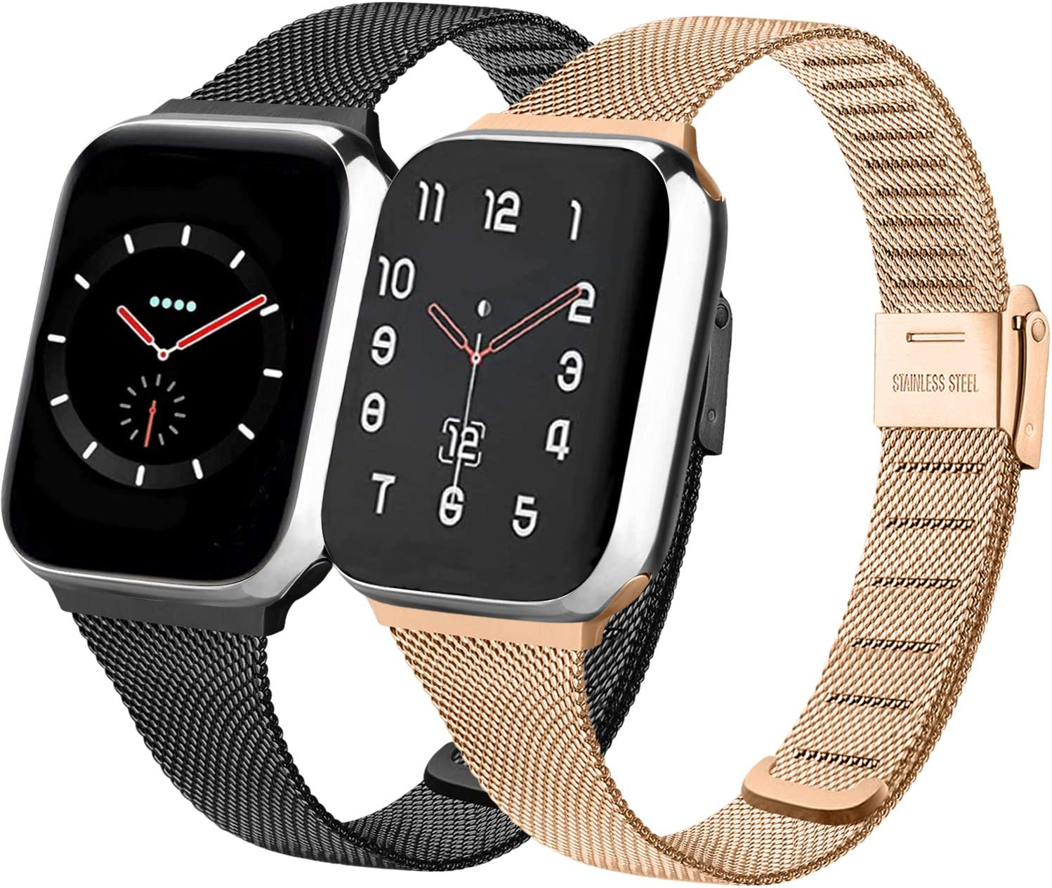 PACK 2 Metal Band Compatible with Apple Watch 38mm 40mm 42mm 44mm,Stainless Steel Mesh Loop with Adjustable Magnetic Closure Bands Compatible for iWatch Series 5/4/3/2/1 (black+rose gold,38mm/40mm)