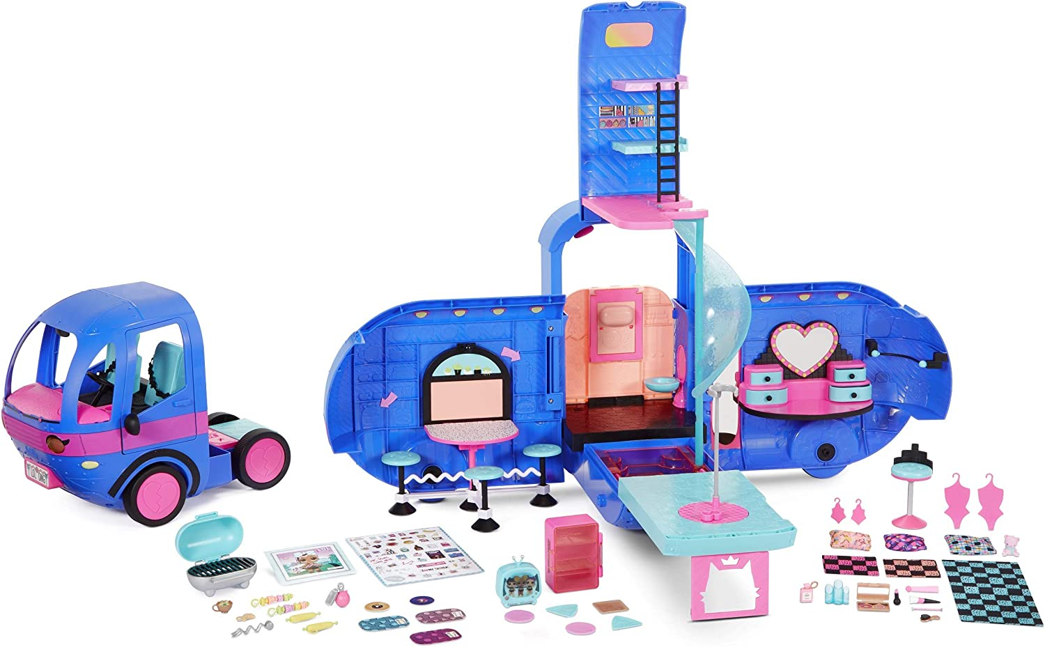Amazon Com L O L Surprise O M G 4 In 1 Glamper Fashion Camper With 55 Surprises Electric Blue 569459 Toys Games