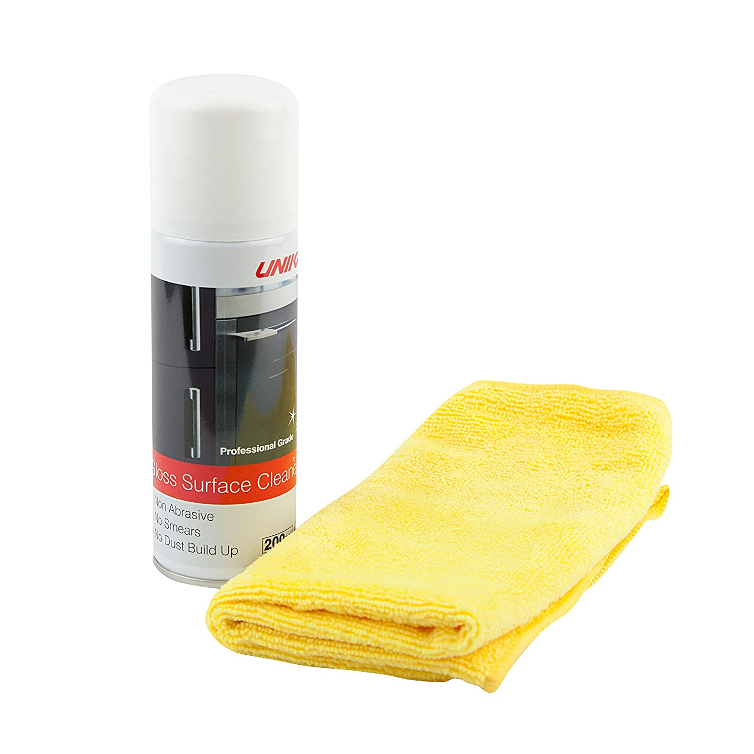 Unika Anti-Static Gloss Surface Cleaner & microfibre cloth 200ml - glass, chrome by Unika CLEANAST-AZ