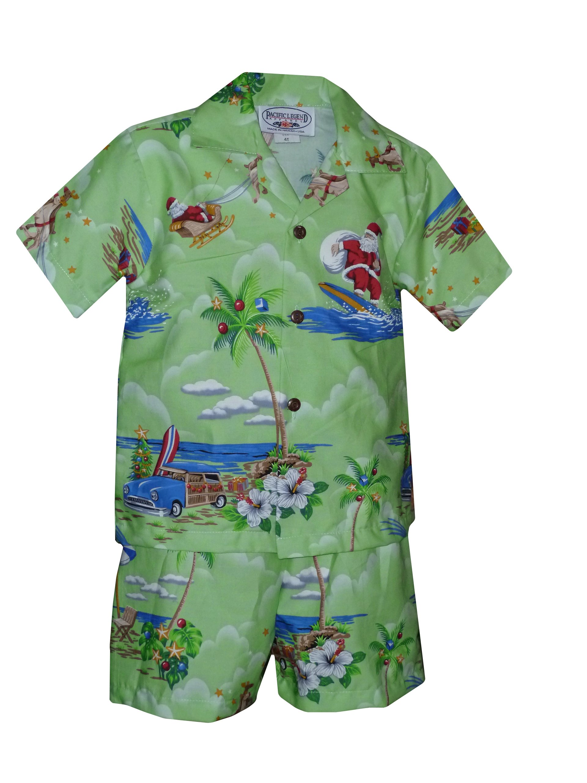 Pacific Legend Boys Santa's Xmas Hawaiian Vacation 2pc Set Green 2T for 2yrs old