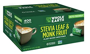 Whole Earth Sweetener Co. Stevia Leaf & Monk Fruit Sweetener, Erythritol Sweetener, Sugar Substitute, Zero Calorie Sweetener, 400 Count Stevia Packets
