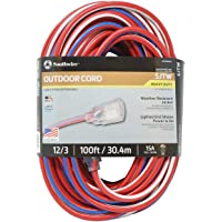 Southwire 100-Feet Contractor Grade 12/3 Extension Cord With Lighted End